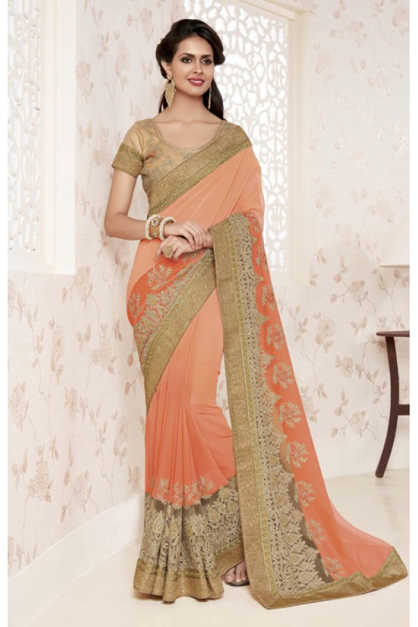 Festival Wear Light Peach Saree  - BELA-12247