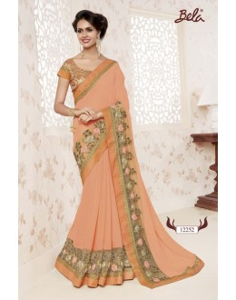 Shine Georgette Orange Saree  - BELA-12252