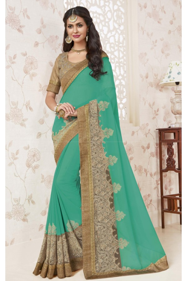 Wedding Wear Green Georgette Saree  - BELA-12254