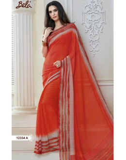 Casual Wear Red Marble Gerogette Saree  - BELA-12334-A