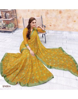 Ethnic Wear Yellow Georgette Saree  - 12420-A