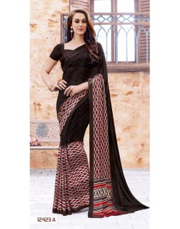 Casual Wear Brown Georgette Saree  - 12423-A
