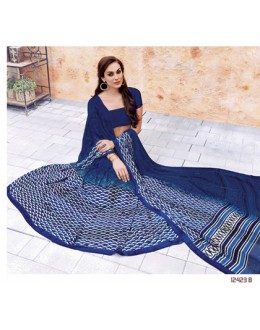Ethnic Wear Blue Georgette Saree  - 12423-B