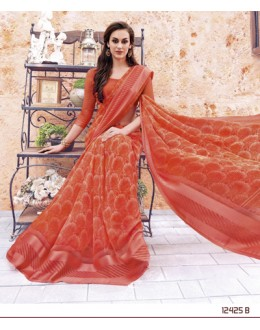 Party Wear Orange Georgette Saree  - 12425-B
