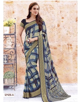 Ethnic Wear Blue Georgette Saree  - 12426-A