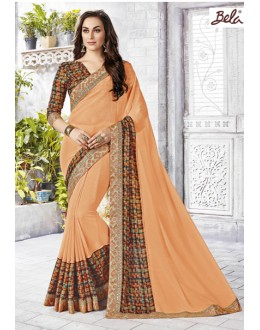 Party Wear Peach Chiffon Saree  - 12466