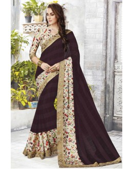 Ethnic Wear Brown Chiffon Saree  - 12471