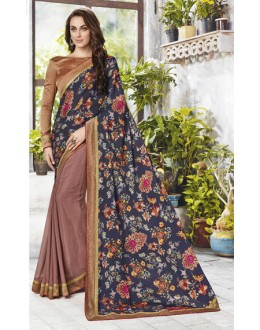 Multi-Colour Half & Half Printed Saree  - 12473