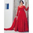 Party Wear Red Net Embroidery Anarkali Suit - 1530