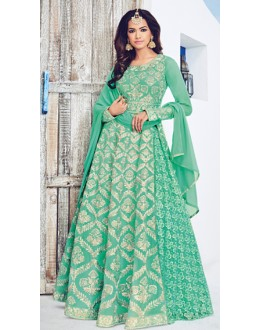 Designer Sea Green Georgette Anarkali Suit - 1532