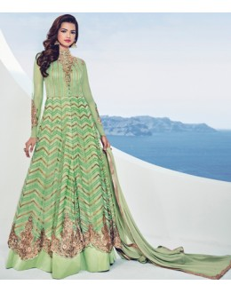Party Wear Green Net Embroidery Lehenga Suit - 1536