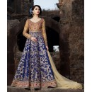 Party Wear Beige & Blue Anarkali Suit - 1577