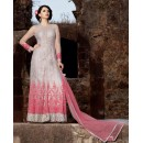 Party Wear Grey Net Anarkali Suit - 1580