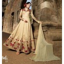 Wedding Wear Golden Banarasi Silk Anarkali Suit - 1581