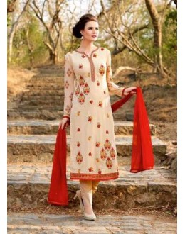 Party Wear Cream Georgette Salwar Suit - BELA-316