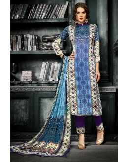 Casual Wear Multicolour Crepe Silk Salwar Suit  - 715