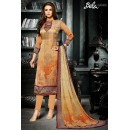 Office Wear Beige Crepe Silk Salwar Suit  - 716