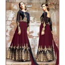 Wedding Wear Velvet Embroidery Anarkali Suit  - 1308-B