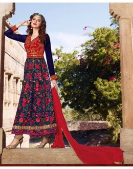 Party Wear Indo Silk Anarkali Suit  - 1444-B