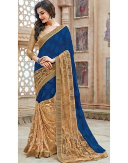 Ethnic Wear Blue & Brown Net Saree  - 11258