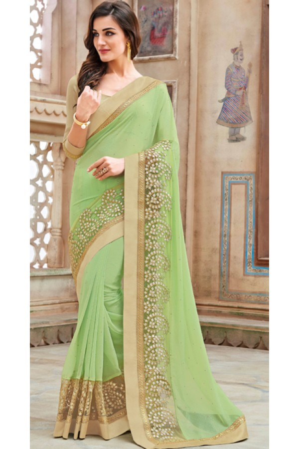 Festival Wear Green & Brown Shine Georgette Saree  - 11259