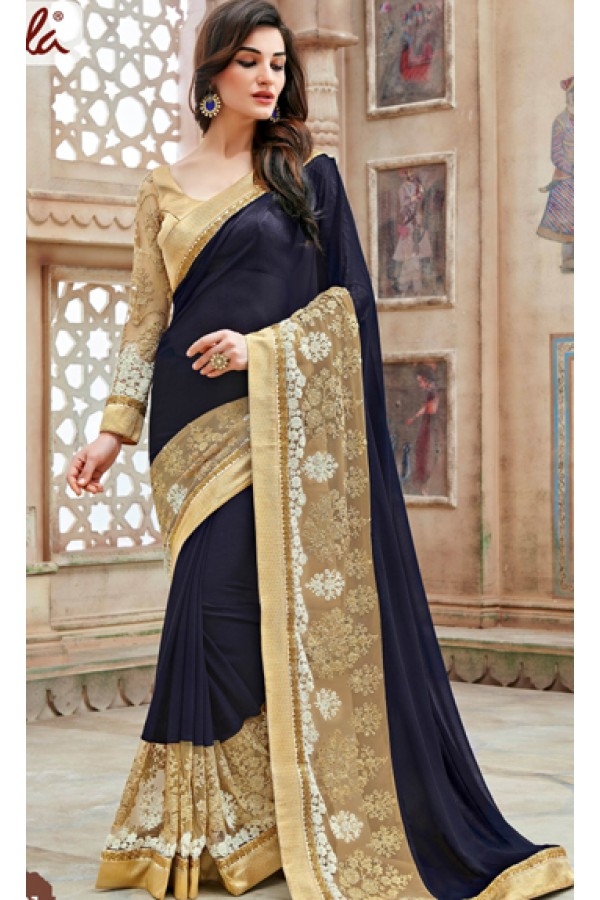 Ethnic Wear Blue & Brown Soft Georgette Saree  - 11261