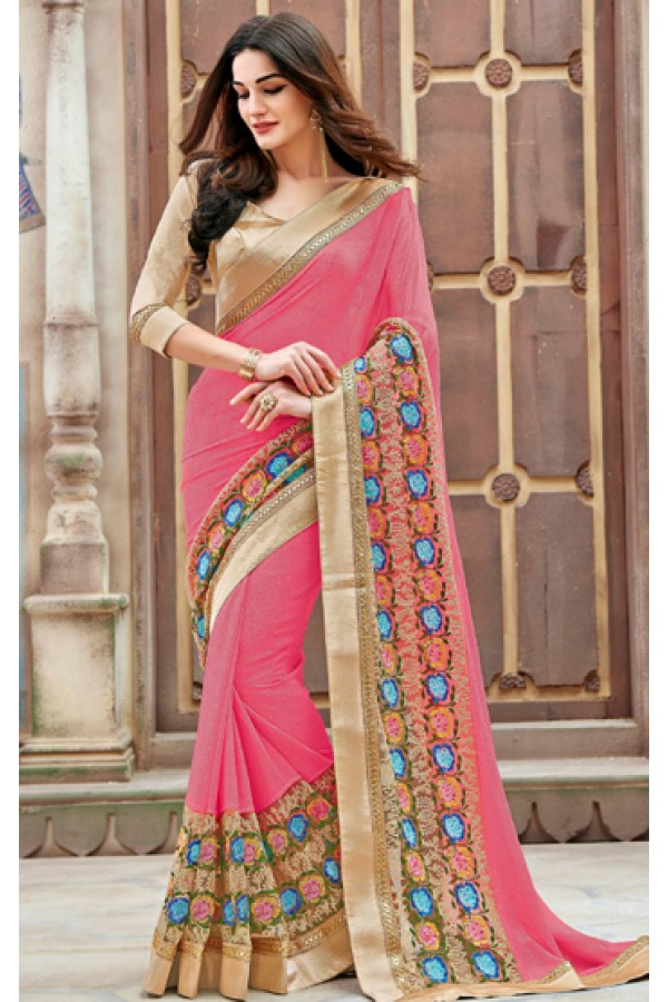 Wedding Wear Pink & Brown Shine Georgette Saree  - 11262