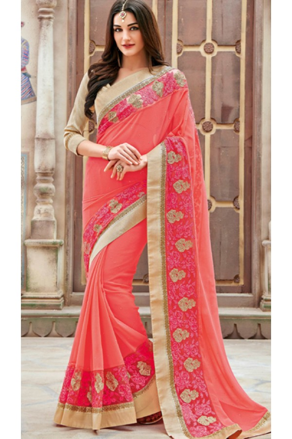 Festival Wear Pink & Brown Georgette Saree  - 11264