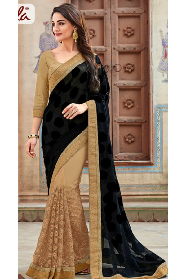Ethnic Wear Black & Beige Georgette Saree  - 11266