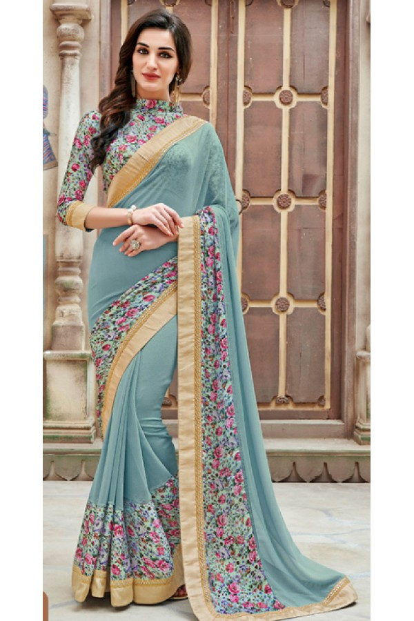 Ethnic Wear Blue Marble Chiffon Saree  - 11341