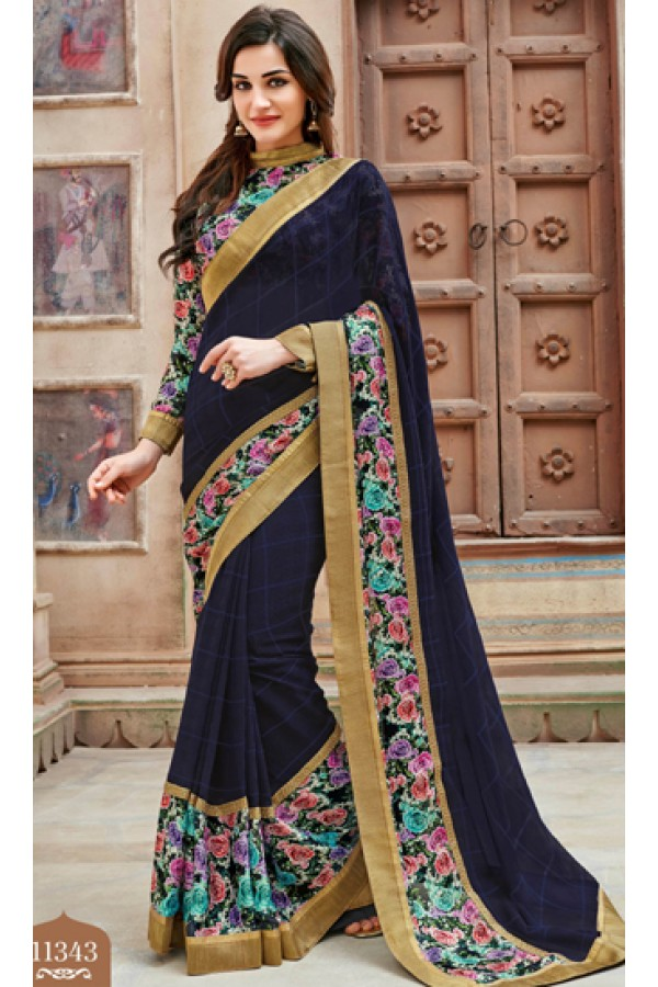 Festival Wear Navy Blue Marble Chiffon Saree  - 11343