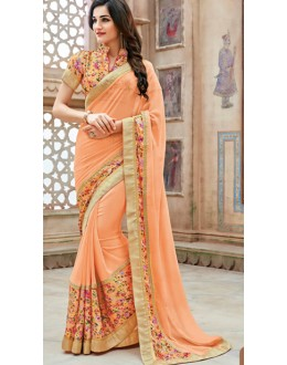 Party Wear Orange Faux Georgette Saree  - 11345