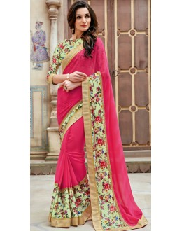 Festival Wear Pink Marble Georgette Saree  - 11347