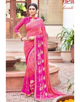Festival Wear Pink Georgette Saree - EMERALD-30108