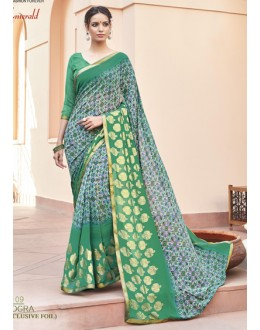 Casual Wear Green Georgette Saree - EMERALD-30109