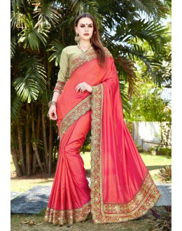 Party Wear Pink Embroidery Saree  - GT-MAREEYA-191