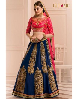 Bridal Wear Blue & Pink Georgette Lehenga Choli - L-11
