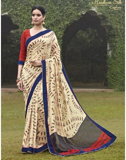 Ethnic Wear Cream Salem Silk Saree - VIPUL-30340
