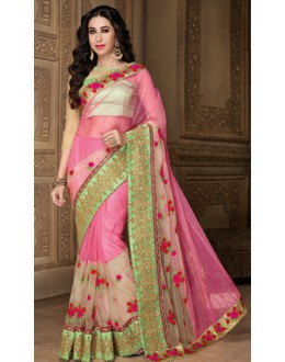 Karishma Kapoor In Pink Net Saree  - 10125