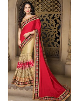 Karishma Kapoor In Red & Beige Georgette Saree  - 10129