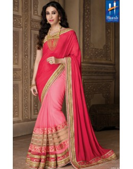 Karishma Kapoor In Pink Net Embroidered Saree  - 10130