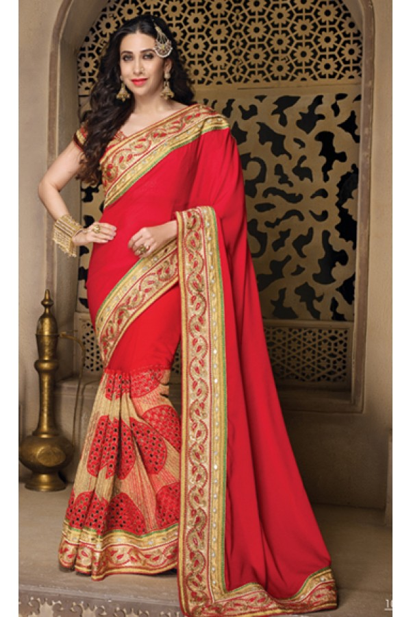 Karishma Kapoor In Red & Beige Net Saree  - 10131