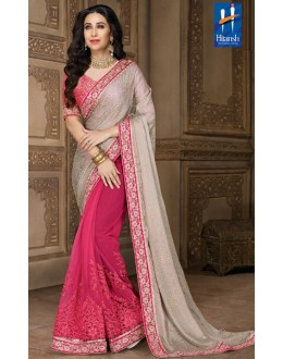 Karishma Kapoor In Grey & Pink Net Saree  - 10132