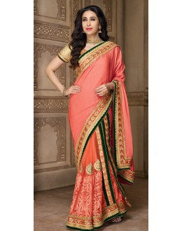 Karishma Kapoor In Orange Net Saree  - 10133