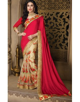 Karishma Kapoor In Red & Beige Net Saree  - 10137