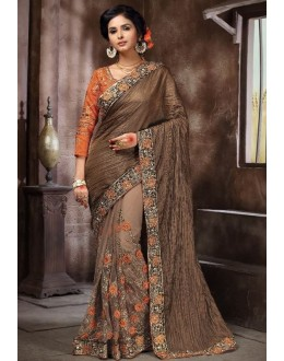 Ethnic Wear Brown Saree - KAMIYA-4001