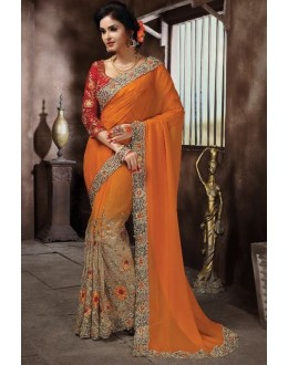 Wedding Wear Orange Saree - KAMIYA-4003