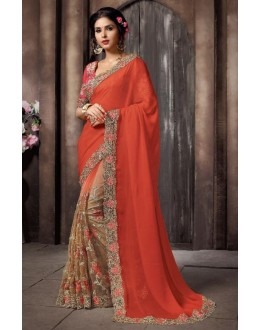 Designer Orange Embroidery Saree - KAMIYA-4004