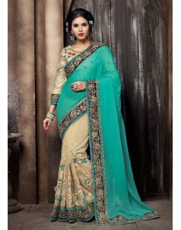 Wedding Wear Aqua & Cream Saree - KAMIYA-4006