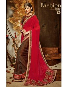 Ethnic Wear Red & Brown Georgette Saree  - 801